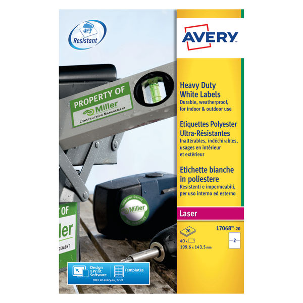 Avery Laser Labels 40 Heavy Duty Labels White 199.6 x 143.5 mm | L7068-20