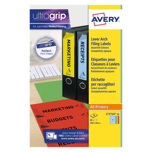 Avery Lever Arch Spine Labels 4 Labels/Sheet 200x60mm Assorted Box 20Sheets   L7171A-20