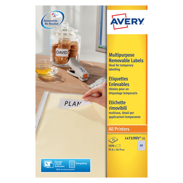 Avery Removeable Laser Labels White 80 Labels