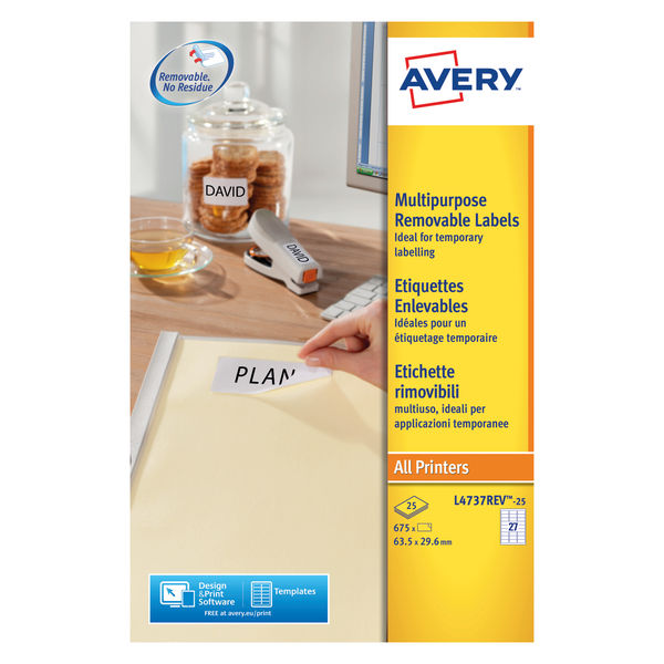 Avery Removeable Laser Labels White 27 Labels 63.5x29.6mm Box25Shts FSC | L4737REV-25