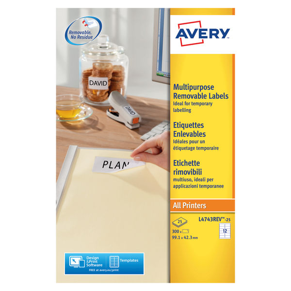Avery Removeable Laser Labels White 12Labels 99.1x42.3mm (Box of 25 Sheets) FSC | L4743REV-25