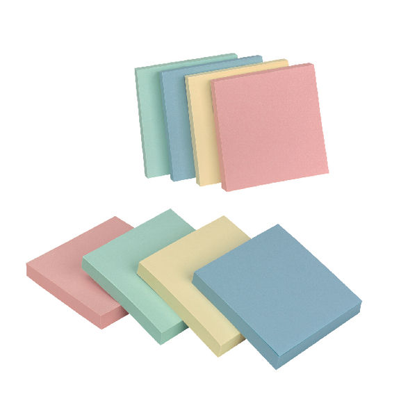 Q-Connect Assorted Pastel 76 x 76mm Quick Notes, Pack of 12 - KF10509