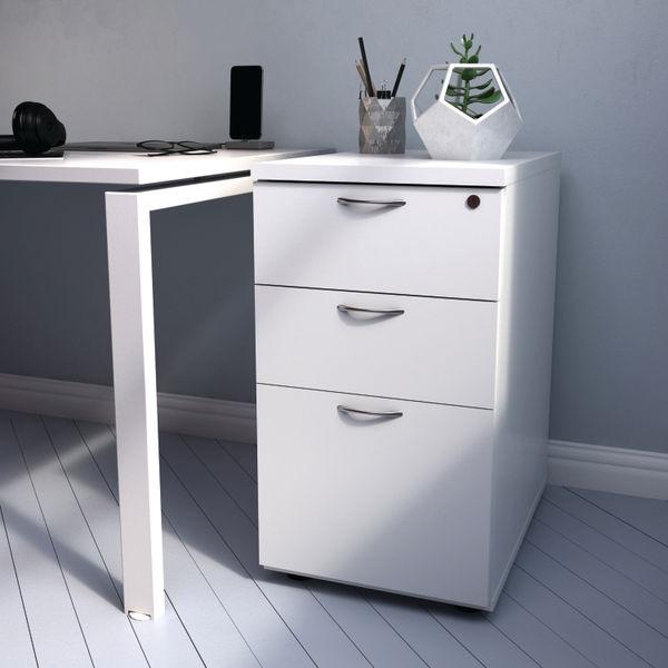 First 730mm Beech 3 Drawer Desk High Pedestal