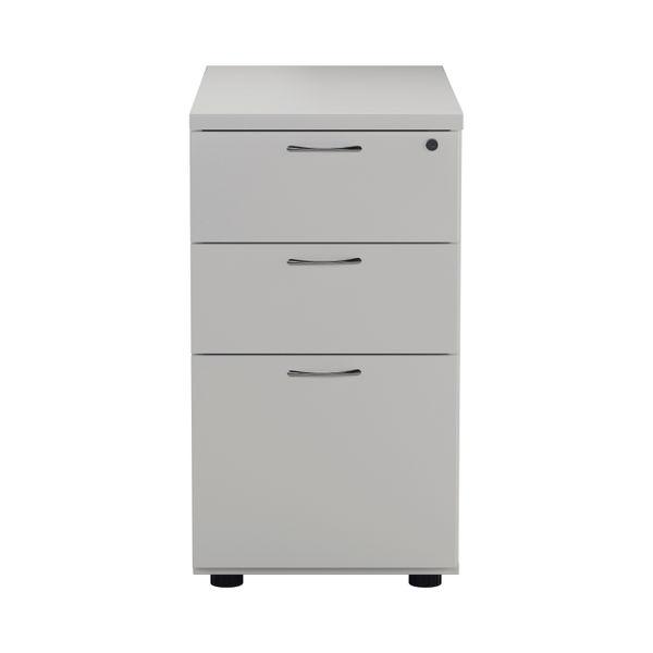 First 730mm White 3 Drawer Desk High Pedestal