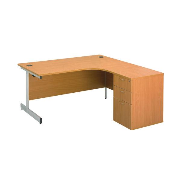 First Beech 3 Drawer Desk High Pedestal