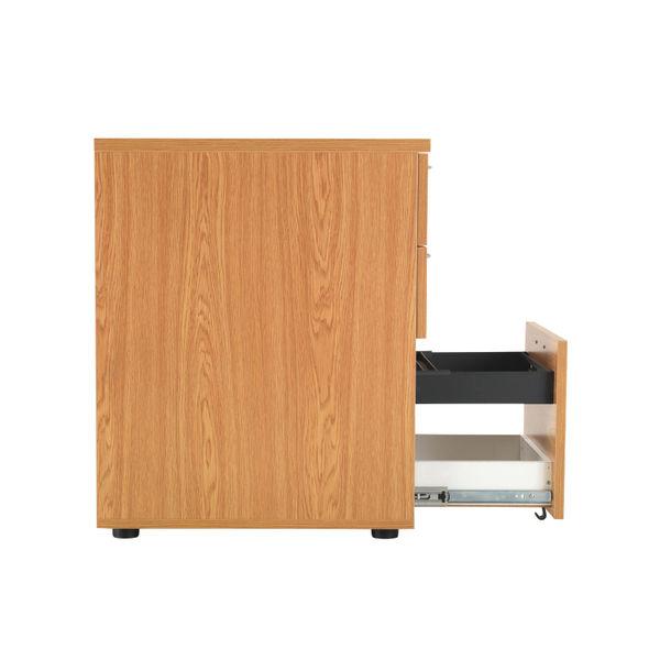 First Nova Oak 3 Drawer Desk High Pedestal