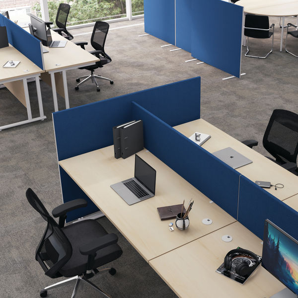 First 1800mm Royal Blue Desk Mounted Screen
