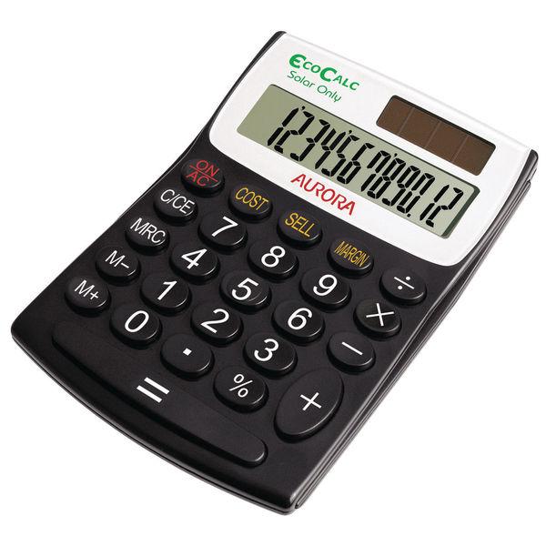 Aurora Recycled EC404 Semi Desktop Calculator, 12 Digit Display - EC404