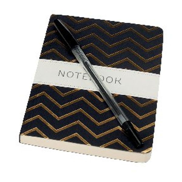 Go Stationery A6 Black With Gold Chevron Notebook - 6PN406D
