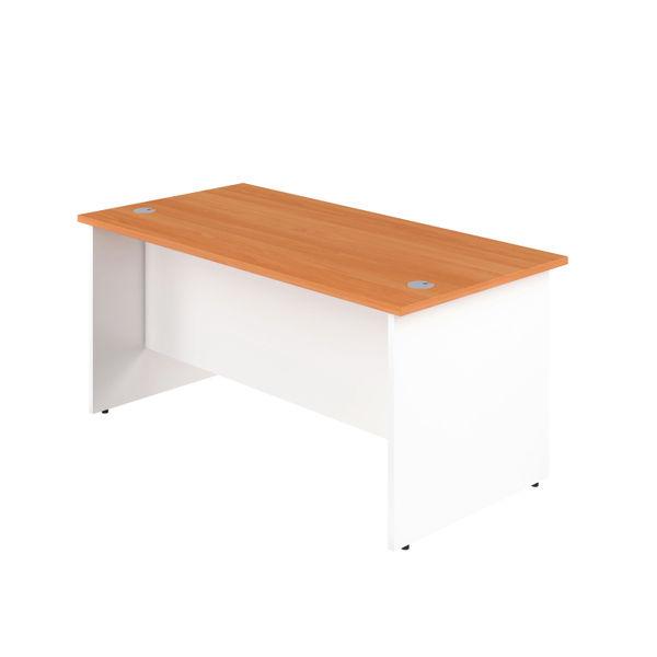 Jemini 1400mm Beech/White Rectangular Panel End Desk