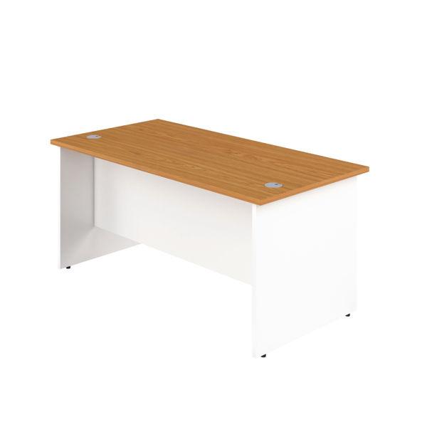 Jemini 1400mm Nova Oak/White Rectangular Panel End Desk