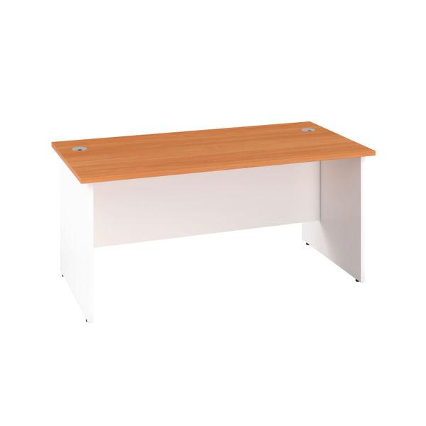 Jemini 1600mm Beech/White Rectangular Panel End Desk