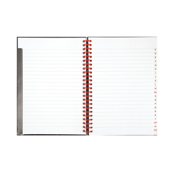 Black n Red A5 Wirebound A-Z Notebook - Pack of 5 - J67001