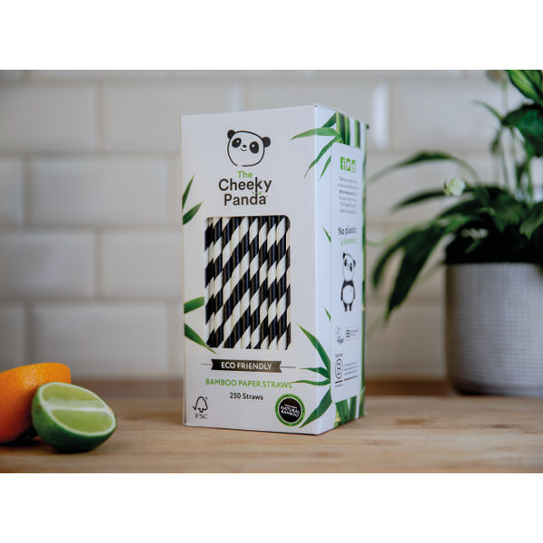 Cheeky Panda Bamboo Paper Straw Black Stripes (Pack of 250) 0111129