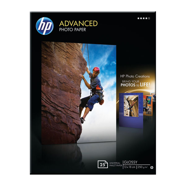 HP Advanced Photo Paper 13 x 18cm 250gsm Glossy (Pack of 25) – Q8696A
