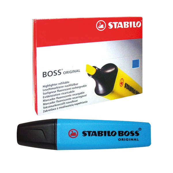 STABILO BOSS Original Blue Highlighters, Pack of 10 - 70/31/10