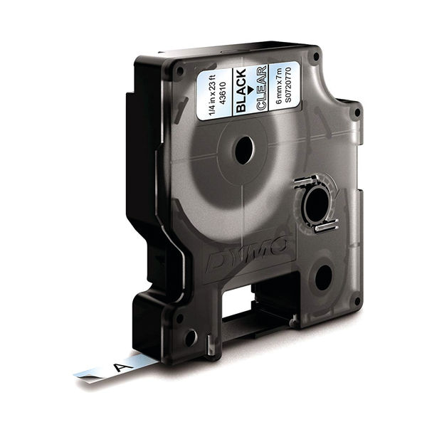 Dymo 1000/5000 Tape 6mm x 7m Black/Clear | 43610