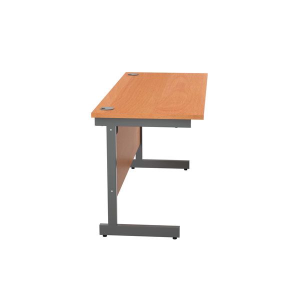Jemini 1400x600mm Beech/Silver Single Rectangular Desk