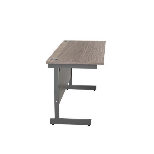 Jemini 1400x600mm Grey Oak/Silver Single Rectangular Desk