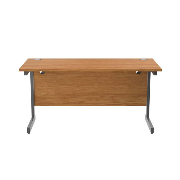 Jemini 1400x600mm Nova Oak/Silver Single Rectangular Desk