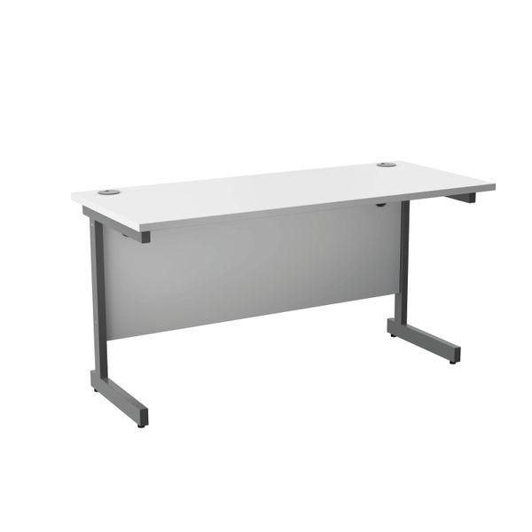 Jemini 1400x600mm White/Silver Single Rectangular Desk