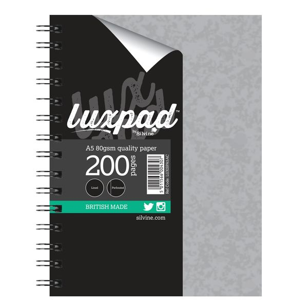 Silvine Luxpad Hardback Wire Notebook A5 Plus (Pack of 3) LUXSPA5AC