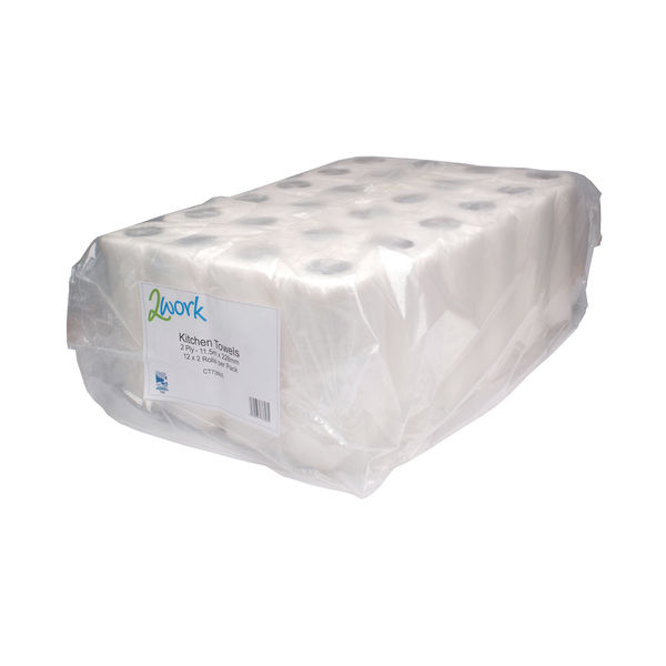 2Work White Kitchen Rolls, Pack of 24 - CT73665