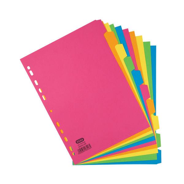 Elba A4 Bright Coloured 10 Part Index Divider 240gsm - 400008300