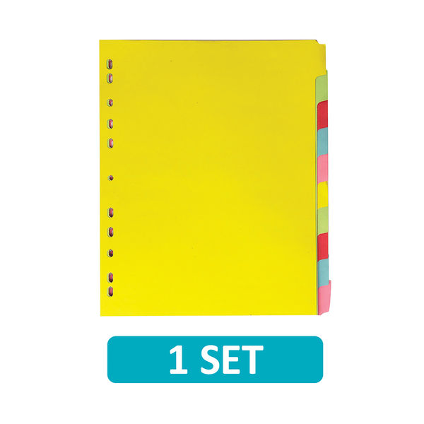 Elba 10-Part Card Divider A4 Extra Wide Assorted 400007242