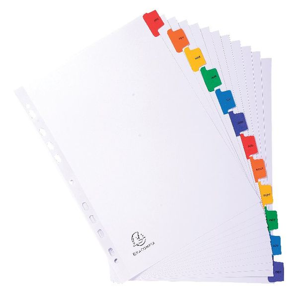 Exacompta Guildhall Mylar Index Coloured Tabs 12-Part January-December A4 White 1113E