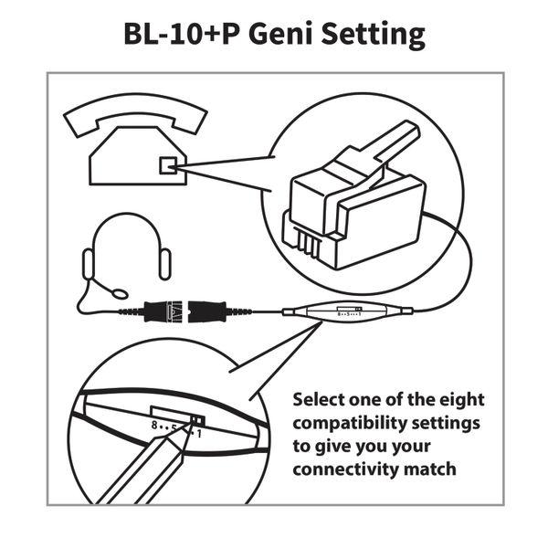JPL Universal Headset Bottom Lead RJ11 80-200cm Coiled Black BL-10+P