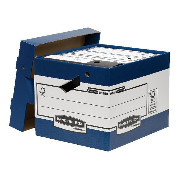 Bankers Box Blue/White Heavy Duty Ergo Storage Box, Pack of 10 - 0038801