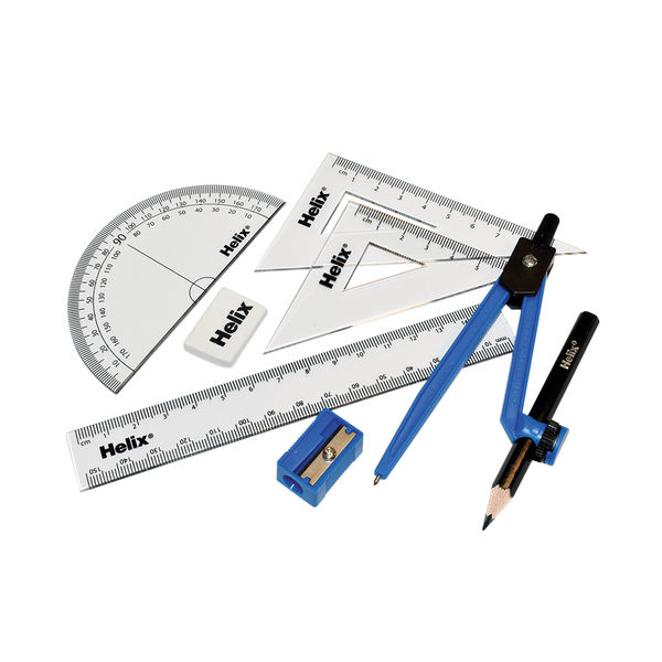 Helix Blue and Clear Value Maths Set, Pack of 12 - A54000