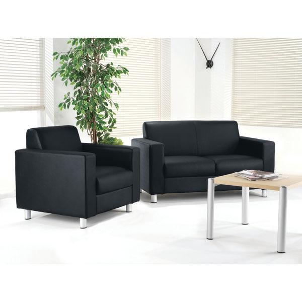 Avior Black 2 Seat Executive Reception Sofa