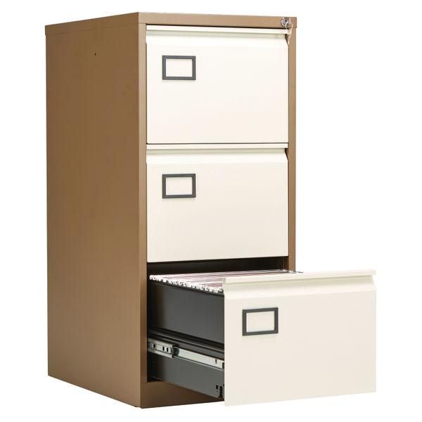 Jemini 1016mm Coffee/Cream 3 Drawer Filing Cabinet
