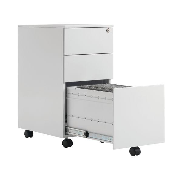 First 615mm White 3 Drawer Slimline Under Desk Pedestal