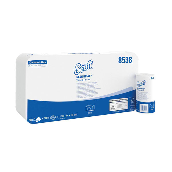 Scott White 2-Ply Performance Toilet Rolls, Pack of 36 - 8538