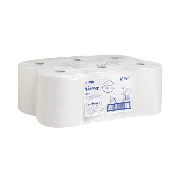 Kleenex 2-Ply Ultra Hand Towel Roll 130m White (Pack of 6) 6765
