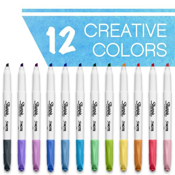 Sharpie S-Note Assorted Creative Markers, Pack of 12 - 2138233