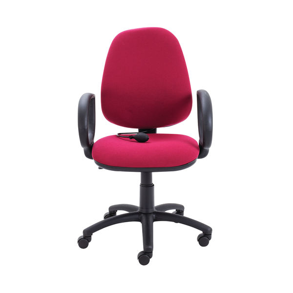 Jemini Intro High Back Posture Chair Fixed Arms in Claret