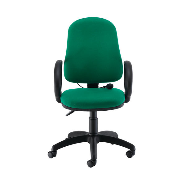 Jemini Intro High Back Posture Chair Fixed Arms in Green