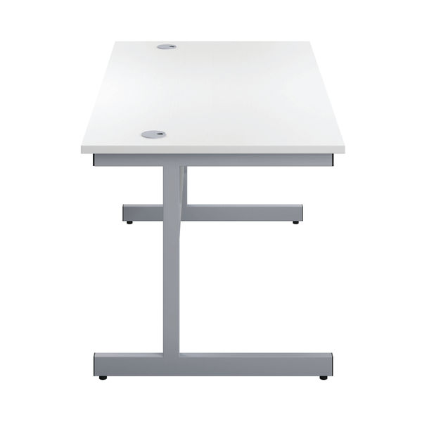 First 1600mm White/Silver 3 Drawer Pedestal Single Desk
