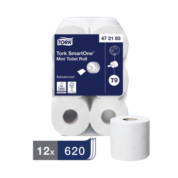 Tork T9 SmartOne 2-Ply Mini Toilet Rolls, Pack of 12 - 472193
