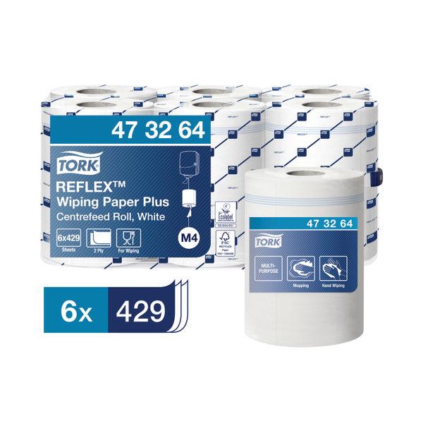 Tork Reflex M4 White Centrefeed Tissue Rolls, Pack of 6 - 473264