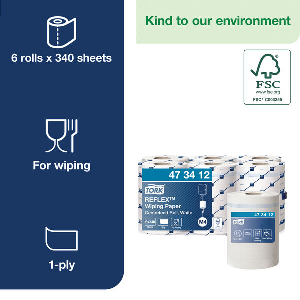 Tork Reflex M4 White Centrefeed Wiping Paper Rolls, Pack of 6 - 473412