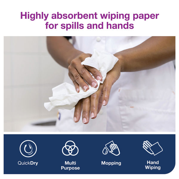 Tork W4 White 2-Ply Wiping Paper Plus, Pack of 5 - 130043