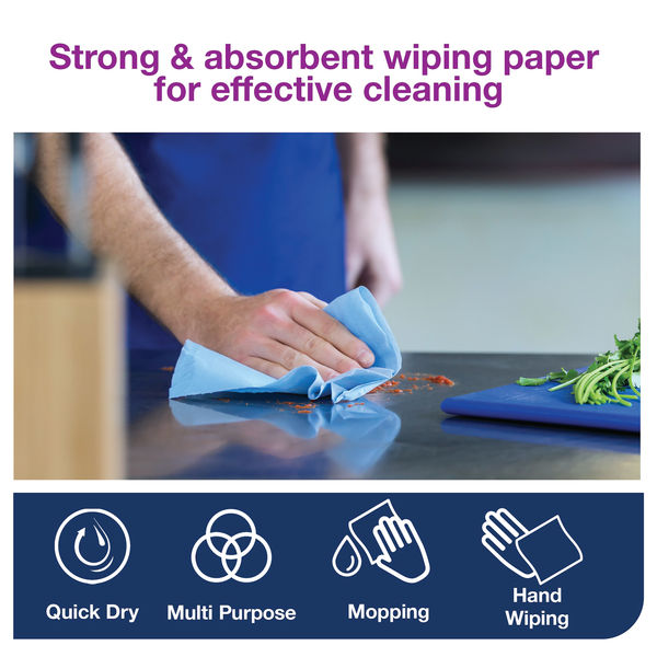 Tork W1 510m Blue 2-Ply Wiping Paper Plus Roll - 130050