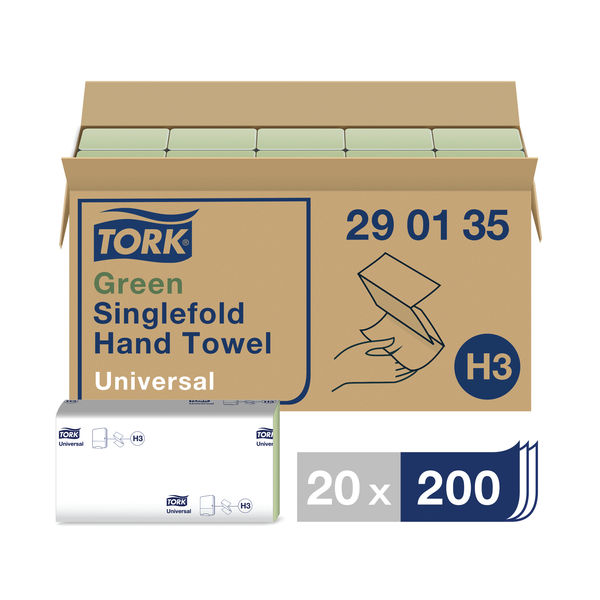 Tork H3 Green 1-Ply Singlefold Hand Towels, Pack of 20 - 290135