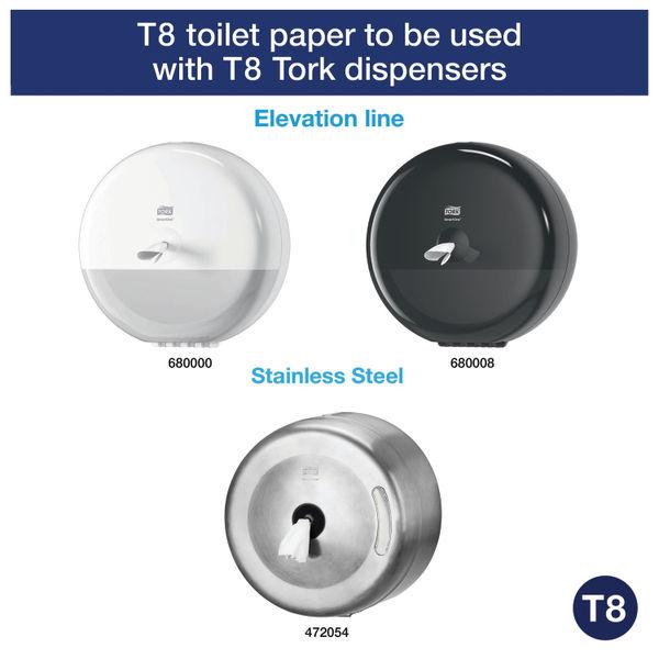 Tork T8 SmartOne 2-Ply Toilet Rolls, Pack of 6 - 472242