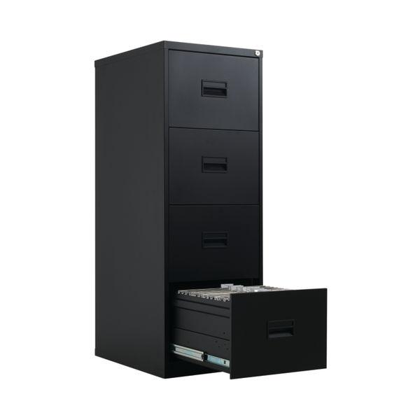 Talos 1300mm Black 4 Drawer Filing Cabinet